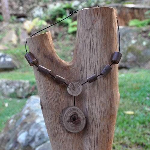 Custom made Eucalyptus wooden necklace